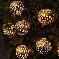 12 METAL GLOBE BALLS STRING LIGHTS SOLAR POWERED MOROCCAN OUTDOOR GARDEN FAIRY
