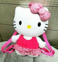 Sanrio Hello Kitty Plush Backpack Toy Bag Adjustable Straps pink 2013 LARGE 14""