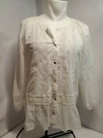 Anthropologie Tiny lace White Embroidered Top Medium M pearl Button Down Blouse