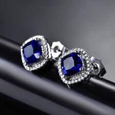 HUCHE Deep Ocean Blue Sapphire White Gold Filled Lady Stud Women Party Earrings