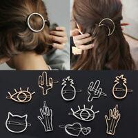 Women Metal Hair Clips Geometric Hollow Hairpins Barrettes Hair Accessories***