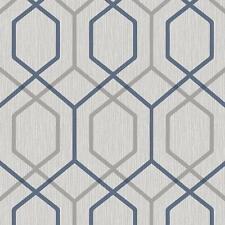 Belgravia Décor Oria Hex Wallpaper Geometric Navy Grey Glitter Textured Vinyl