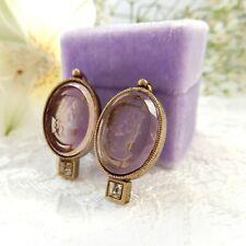 Vintage Retro Carved Purple Glass Intaglio Cameo Earrings Fine Jewelery