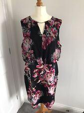 Julian Mac Donald Dress UK 20 - Black and Pink floral Chiffon Unlined Debenhams