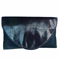Black Iridescent Snakeskin effect Evening Clutch Bag with Soft Shell by Avon