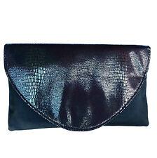 Negro Metalizado Efecto piel de serpiente Bolso Mano Noche con Softshell by Avon