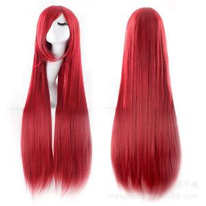 Super Long 100CM Full Wigs Fashion Cosplay Costume Hair Anime Wavy Straight Curl