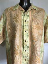 TOMMY BAHAMA Men's Peach Yellow Linen Floral Hawaiian Camp Shirt  Size XL Linen