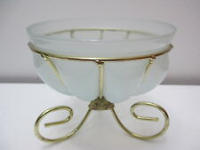 """Beautiful Art Glass Caged Dish Comport Footed Bowl Goldtone Metal Stand 5 5/8"""" T"""