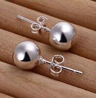 EW Silver Plated Ball Bead Stud Earrings UK1