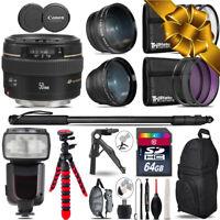 Canon 50mm f/1.4 USM- 3 Lens Kit + Professional Flash- 64GB Holiday Gift Bundle