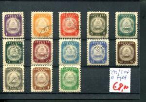 961) Lettland 1940 - Mi.-Nr. 292/304 gestempelt - Wappen