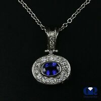 """1.12 Ct Oval Sapphire & Diamond Pendant Necklace 14K White Gold With 16"""" Chain"""