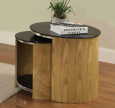 Jual Furnishings Nest Of Tables In Oak With Black Glass Tops - JF305