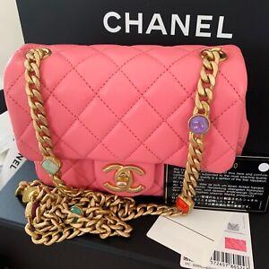 NWT 21p Chanel Lambskin Mini Square Flap Crossbody Bag Gold jewel chain RARE