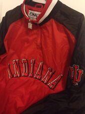Vtg Indiana University Jacket IU Black Red Lined Windbreaker Hoosiers  L Large