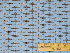 Boeing Air Show WWII Airplane Bomber B25 Mitchell Fabric by the 1/2 Yrd #4284-11