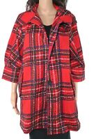 Damee Women's Jacket Red Size Large L Plaid Button Front Pleated $198 #203