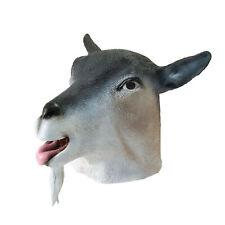 Herren Ziege Maske Latex Antilope Tier Kopf Gesicht Halloween Kostüm Cospla
