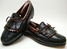 MENS FOOTJOY BLK BRN KILTIE BOW LEATHER SLIP ON LOAFER DRESS SHOES 9.5~1/2 D USA