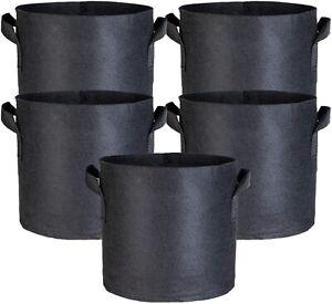 3/5 Pack Garden Heavy Duty Aeration Fabric Pot / Plant Grow Bag w/ Handles