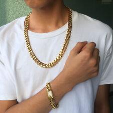 Mens Miami Cuban Link Bracelet&Chain Set 18k Gold Plated Diamond Clasp  10mm