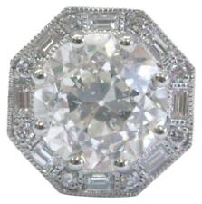 Platinum NATURAL Old European & Baguette Diamond Octagon Halo Pendant 2.16Ct