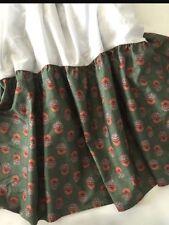 Ralph Lauren King Size Bed Skirt Dust Ruffle Village Terrace Green Rust Floral