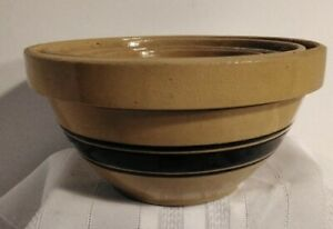 Set of 5 Yellow Ware Nest Mixing Bowls with Brown Bands