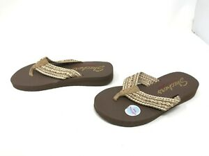 Womens Skechers (31564) MEDITATION  ZEN SUMMER Tan Flip flops (459N)