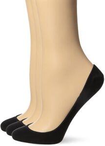 HUE 240423 Womens Hidden Cotton Liner Socks Pack of 3 Black Size Medium/Large