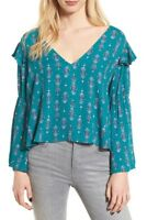 $49 NWOT BP WOMEN'S TEAL FLORAL TIE BACK BELL SLEEVE BLOUSE TOP SIZE L