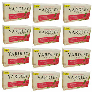 Pack of (12) New Yardley London Wild Rose Moisturizing Bath Bar 4.25 Ounces