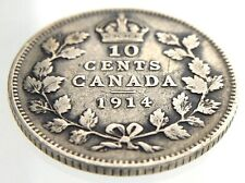 1914 Canada 10 Cents Silver Dime Circulated George V Ten Cent Coin R458