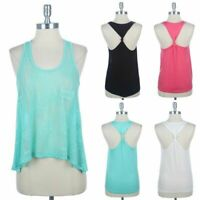 Women's Lace Front Twisted Detail Back Tank Top High Low Hem Sleeveless S M L