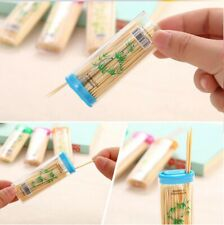70 Wooden Dental Tooth Pick Bamboo Toothpicks With Portable Case Oral Hygiene