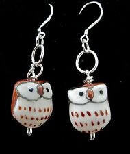 Pretty Painted Ceramic Owl Earrings on Silver Ear Wires - Handmade