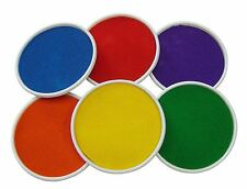 SET 6 LARGE INK PAINT RUBBER STAMP FINGER PAINT PADS RED BLUE GREEN YELLOW ETC