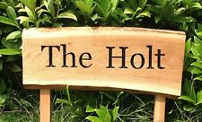 Oak 2 Post Engraved Waney Edge Sign 800mm x 200mm House, Business, Site Signage