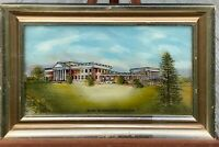 Eglomise Designs Reverse Painted Glass Vintage Picture Mary Washington College !
