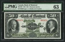 CANADA BANK OF MONTREAL $50 1931 #505-58-08 PMG CHOICE UNC TINY MGN TEAR WLM4869