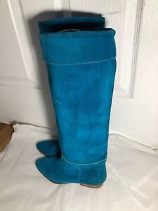 VTG  MADE IN ITALY Women's Aqua  Blue Suede Leather Knee high Boots size 37 us 7