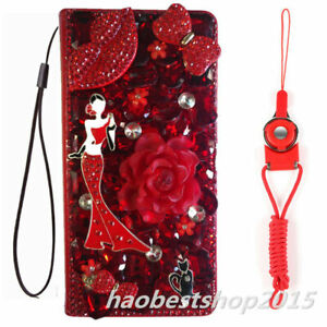 For Iphone 7 8 X 11 12 Flower Leather Flip Bling Wallet Case Cover & Lanyards