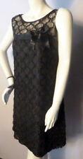 """FABULOUS 1960s Short BLACK EVENING LACE DRESS Bust 38"""""""