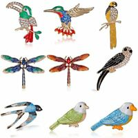 Womens Animal Bird Parrot Dragonfly Crystal Brooch Pin Costume Party Jewellery