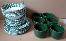 Boots Checkers Crockery Set 6 Bowls, Plates, Cups and Saucers