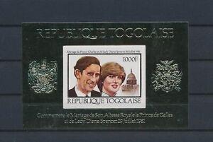 LO41548 Togo gold foil Charles & Diana wedding royalty imperf sheet MNH