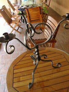 VINTAGE WROUGHT IRON 3-ARM CANDELABRA CANDLE HOLDER