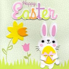 Bunny Happy Easter Greeting Card Handfinished Embellished Greetings Cards