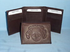 Police POLICE OFFICER Policeman   Leather TriFold Wallet    NEW    dkbr 3  m1